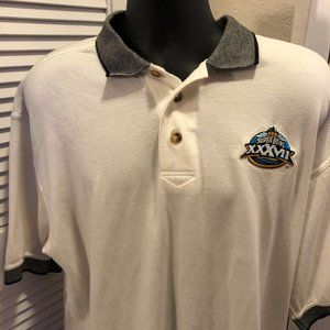 Super Bowl 37 White Collared Polo Shirt XL Coors